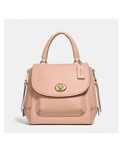 Coach Faye Backpack in Embossed and Smooth Leather Apricot