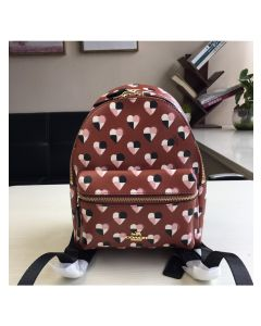 Coach Mini Charlie Backpack with Checker Heart Print in Signature Canvas Red