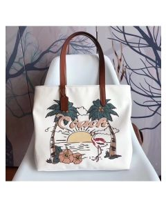 Coach Summer Tote with Aloha Flamingo in Canvas White