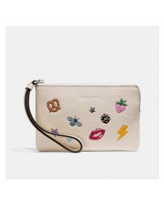 Coach Corner Zip Wristlet with Allover Motifs in Pebble Leather White