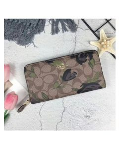 Coach Accordion Zip Wallet with Camo Rose Floral Print in Signature Canvas Khaki