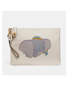 Disney x Coach Turnlock Wristlet 30 with Dumbo in Pebble Leather White