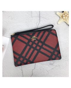 Coach Corner Zip Wristlet with Plaid Print in Signature Canvas Red