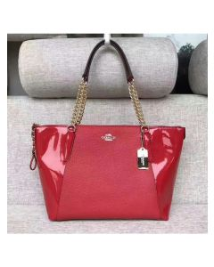 Coach Ava Chain Tote in Pebble and Patent Leather Red