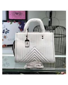Coach Rogue Bag with Quilting and Rivets in Nappa Leather White