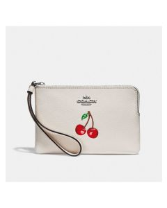 Coach Corner Zip Wristlet with Cherry Motif in Pebble Leather White