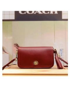 Coach Penny Shoulder Purse in Glovetanned Leather Burgundy