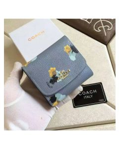 Coach Small Trifold Wallet with Floral Print in Coated Canvas Sky Blue