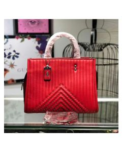Coach Rogue Bag with Quilting and Rivets in Nappa Leather Red