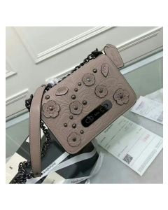 Coach Swagger Shoulder Bag 20 with Tea Rose Tooling in Glovetanned Leather Grey