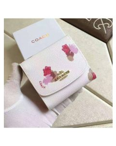 Coach Small Trifold Wallet with Floral Print in Coated Canvas White