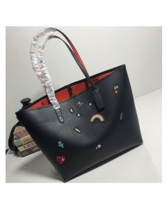 Coach City Tote with Souvenir Embroidery In Crossgrain Leather Black