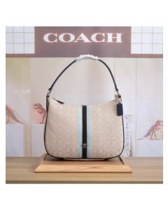 Coach Zip Shoulder Bag In Signature Jacquard With Stripe Apricot