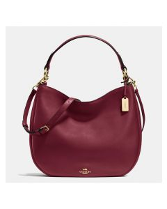 Coach Nomad Hobo In Glovetanned Leather Burgundy