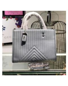 Coach Rogue Bag with Quilting and Rivets in Nappa Leather Sky Blue